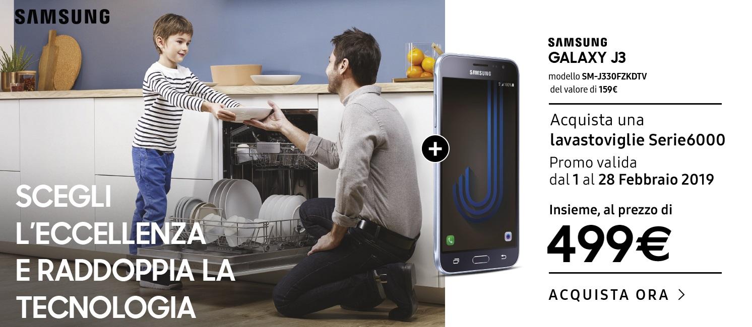 Acquista una lavastoviglie Serie 6000 e ricevi in omaggio Samsung Galaxy J3
