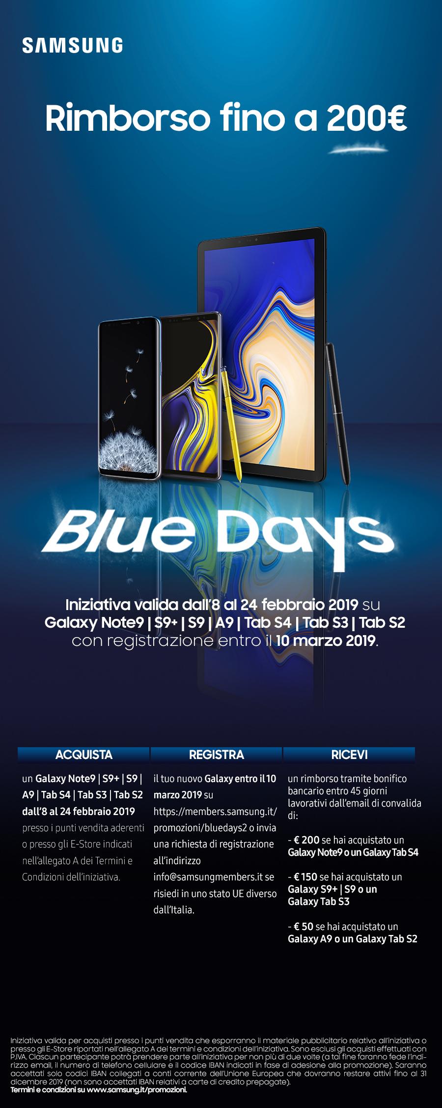 Samsung Blue Days: rimborso fino a € 200