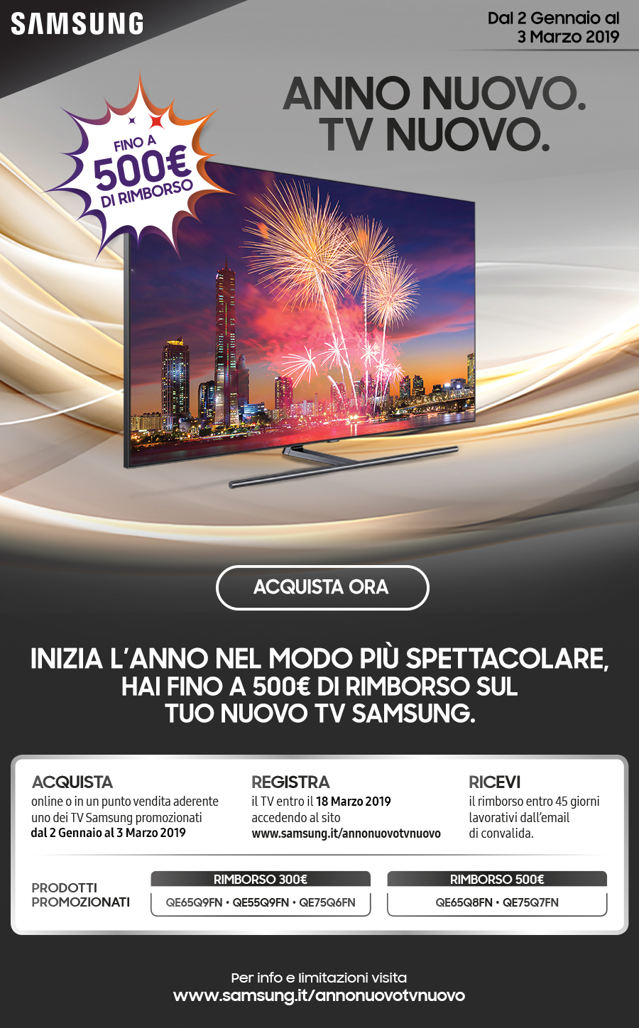 promo samsung anno nuovo tv nuovo comet. Black Bedroom Furniture Sets. Home Design Ideas