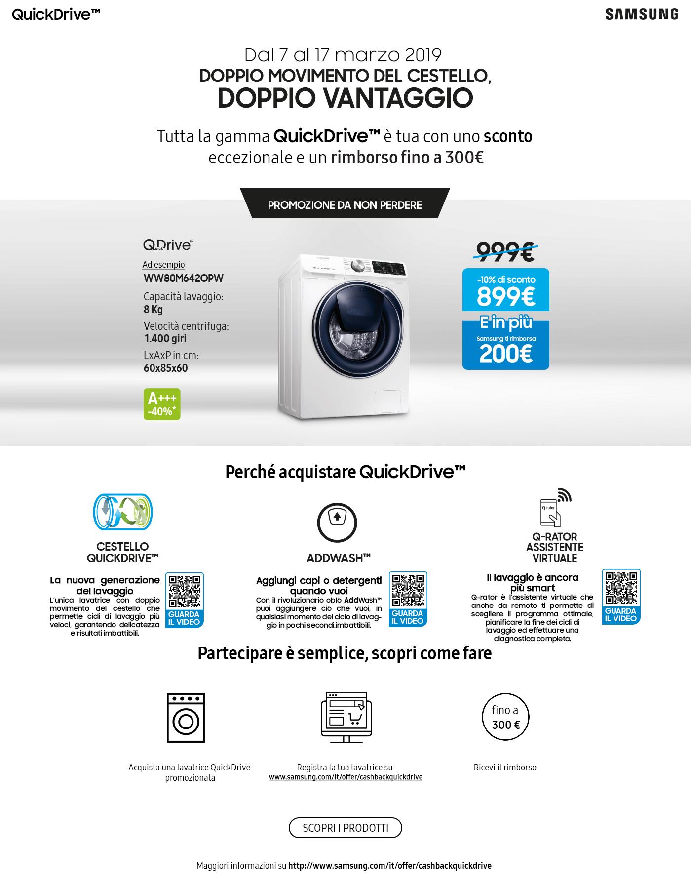 Rimborso fino a 300 € con Samsung QuickDrive