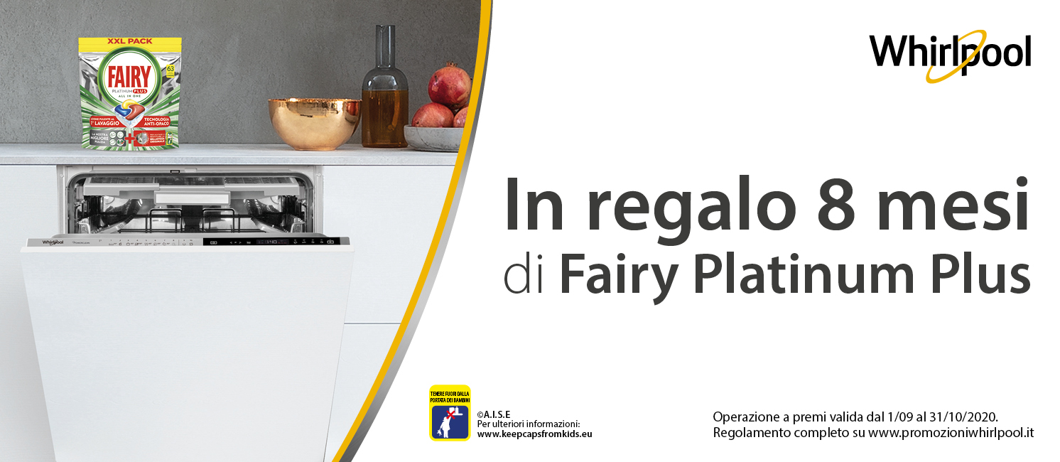Promo: Whirlpool regala 8 mesi di Fairy Platinum Plus