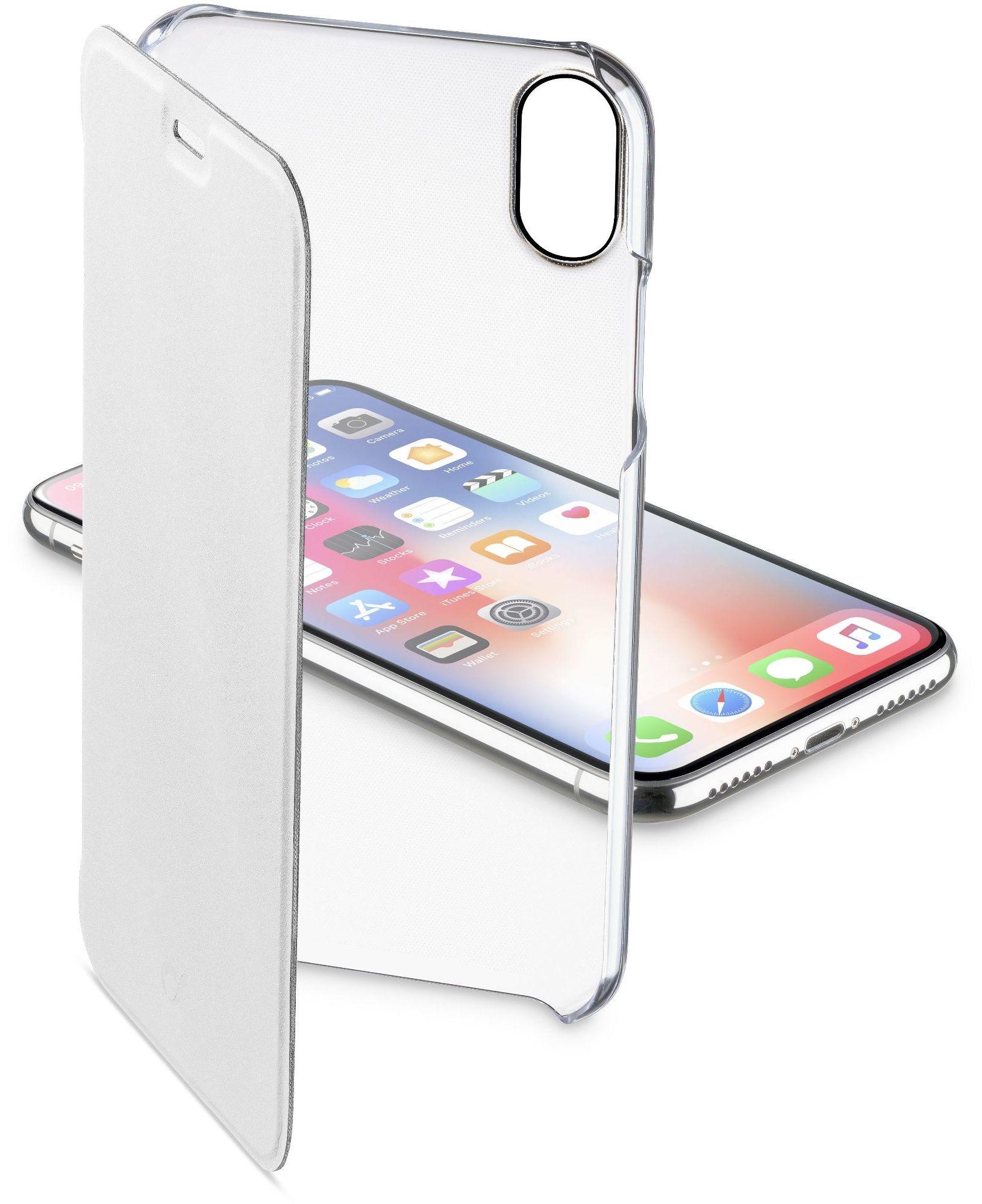 Cellular Line Custodia a libro rigida con back trasparente e sportellino iPhone XS/X - Clearbookiph8xw