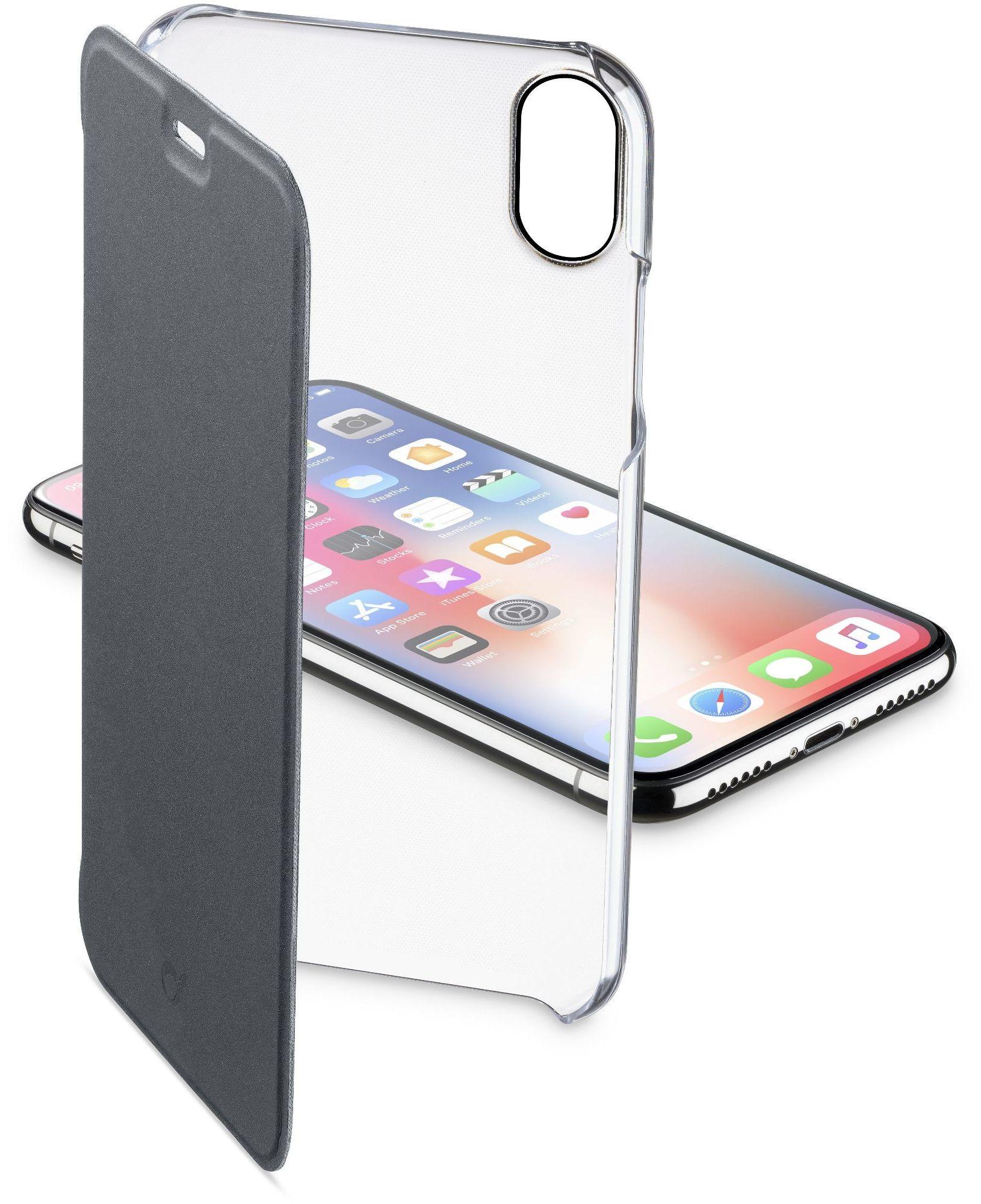 Cellular Line Custodia a libro rigida con back trasparente e sportellino colorato iPhone XS/X - Clearbookiph8xk