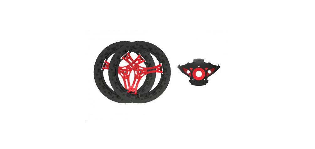 Parrot 2 ruote complete (assi neri, cerchi bianchi e pneumatici) - Pf070098aa kit personalizzazione Jumping Sumo