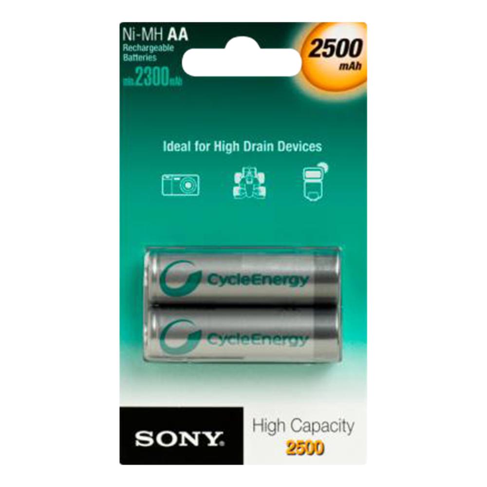 STILO (HR6) Batterie Sony Ni-MH ricaricabili ad alta capacità da 2500 mAh - BLISTER 2 PILE 2500 MAH
