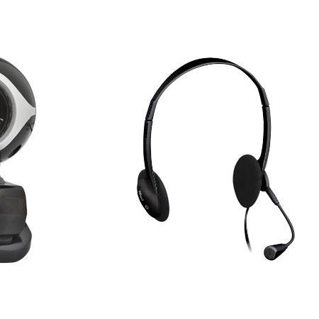 TRUST Webcam e cuffie con microfono per la chat e la videoconferenza - EXIS CHATPACK BLACK 17028