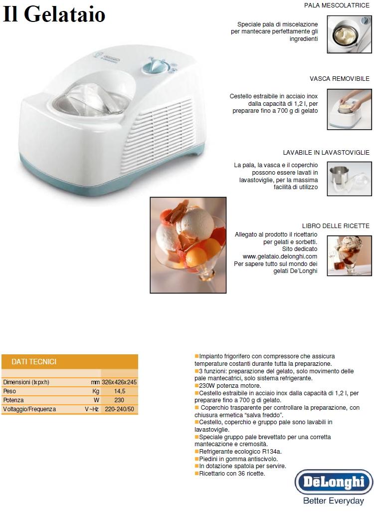 DE LONGHI Gelatiera con 3 funzioni: preparazione del gelato, solo movimento delle pale mantecatrici, solo sistema refrigerante - ICK5000