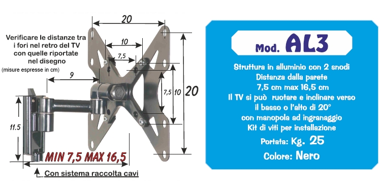"""PRANDINI Staffa da parete per TV LED e LCD da 13"""" a 32"""" - AL3"""