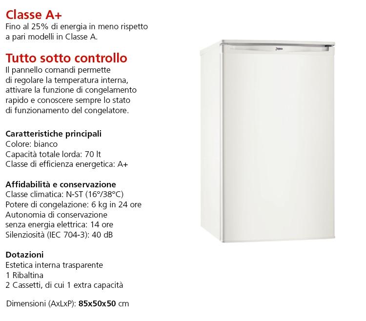 ELECTROLUX Congelatore verticale da tavolo - ZOPPAS - PFT307MW1