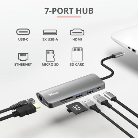 Trust Adattatore multiporta - Dalyx 7-in-1 USB-C