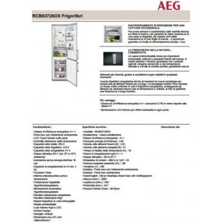 Aeg Frigo combinato 2 porte ventilato - Rcb63726ox