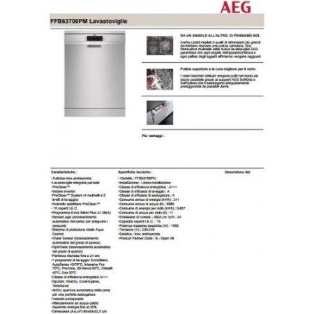 Aeg Lavastoviglie 15 coperti - Ffb63700pm