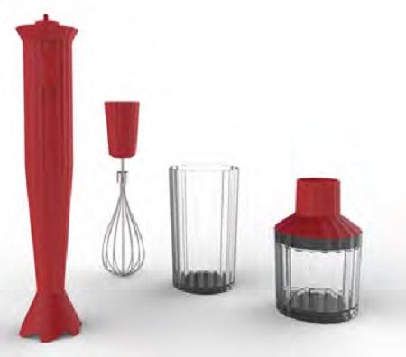 Alessi S.p.a. Frullatore a immersione, tritatutto, frusta, bicchiere in resina termoplastica e acciaio inossidabile 18/10 - Mdl 10s R Plissé Minipimer Rosso C/ACC