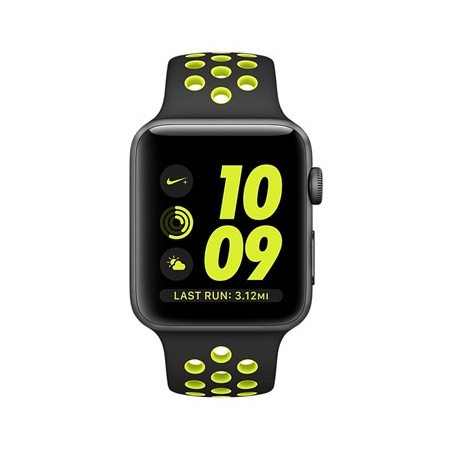 Apple - Watch Nike+ 38mm Series 2 Black/ Green Mp082ql/a