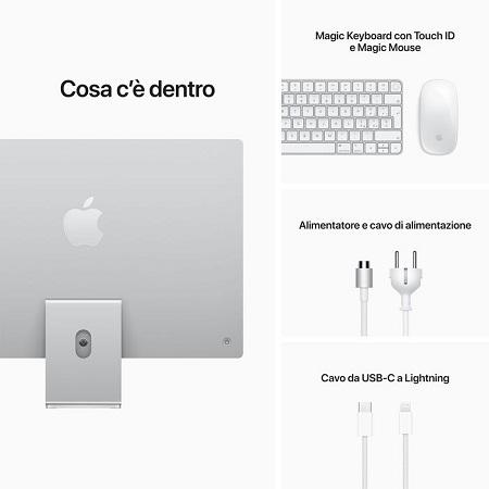 "APPLE iMac 24"" 512GB 8 CPU 8 GPU Argento MGPD3T/A 2021"