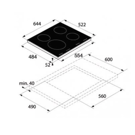 Asko Piano a induzione in Vetro nero - HI 1654 IQ