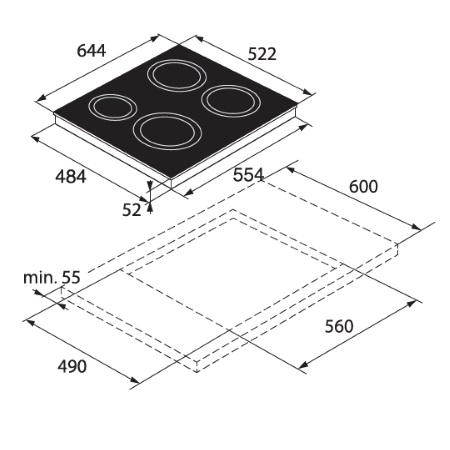 Asko Piano cottura a induzione in vetro nero - HI 1643 G