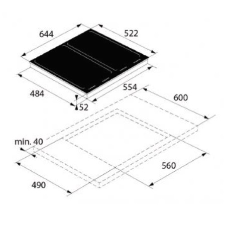 Asko Piano cottura a induzione in vetro nero - HI 1655 G