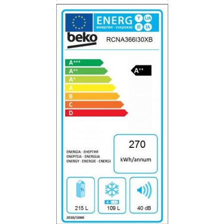 Beko Frigo combinato 2 porte no frost - Rcna366i30xb