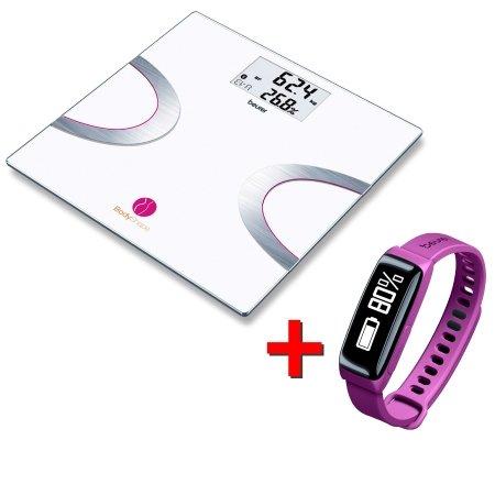 Beurer Sensore di attività +Bilancia diagnostica Smart - Bodyshape Rosa Bilancia Bf710 + Fitness Watch As81 Lilla