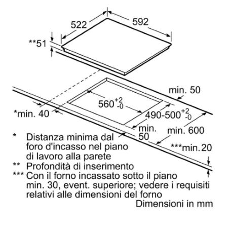 """Bosch Profilo bisellato a """"U"""" di lati frontale e laterali. - Serie 6 vetroceramica - Pxe651fc1e"""