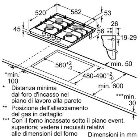 Bosch Piano cottura a gas 60 cm - PGH6B5B60