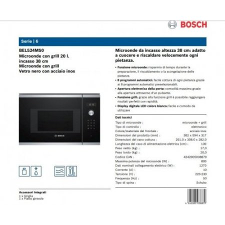 Bosch M/o grill incasso statico - Bel524ms0