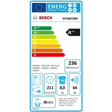 Bosch Asciugatrice a pompa di calore - Wtw85t08it