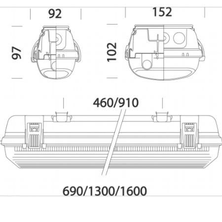 Disano 16453500 - Hydro 921 T8 2x58W - Armatura Stagna   per tubi neon/led