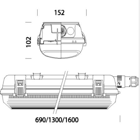 Disano 16470400 - Echo 927 LED 38W - Armatura Stagna