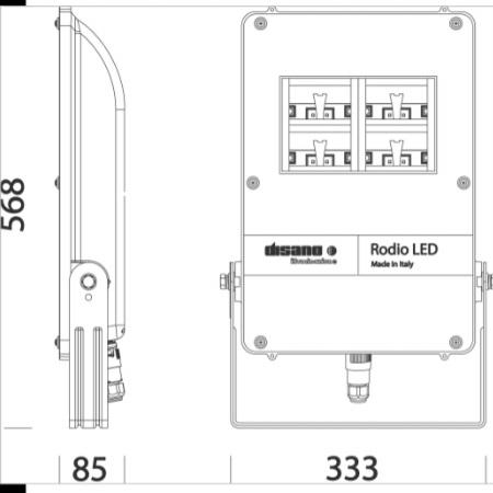 Disano 41477000 - Rodio 1892 LED 84W Fascio Ottica Stradale - Proiettore con staffa