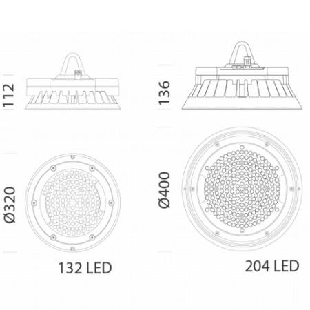 Disano 33075000 - Saturno 2885 HE LED 139W Fascio Diffondente - Apparecchio a Sospensione