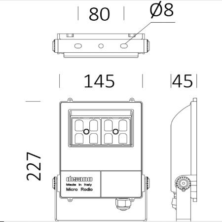 Disano 41487000 - MicroRodio 1982 LED 28W Asimmetrico - Proiettore con staffa