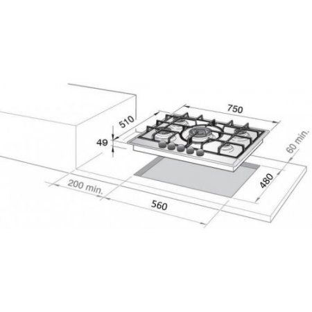 Delonghi Piano cottura a gas - Slf575lx