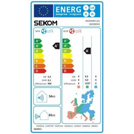 Sekom KIT dual split completo INVERTER - Kit U.E. SM509DAX + U.I. SM269AB4 + U.I. SM359AB4