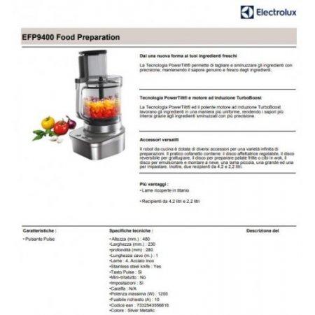 Electrolux Robot da cucina 1200 w - rex - Efp9400 Acciaio Inox