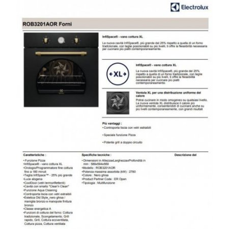 Electrolux Forno elettrico 2780 w - rex - Rob3201aor
