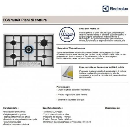 Electrolux Piano cottura a gas - rex - Egs7536x