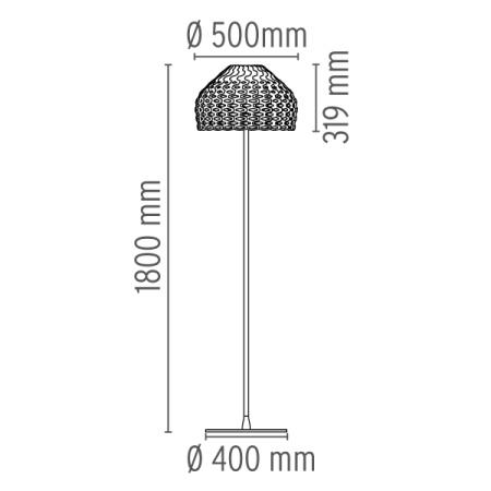 Flos Lampada da terra - TATOU F H.180 205W E27 BIANCO F7764009