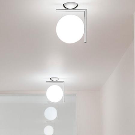 Flos IC C/W2 EUR CROMO Lampada da parete con struttura in acciaio e ottone - F3179057
