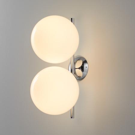 Flos IC C/W1 DOUBLE ROSSO BURGUNDY Lampada da parete con struttura in acciaio e ottone - F3157035