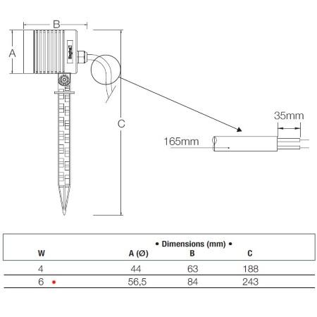 Beghelli Proiettore Led con picchetto 6W 4K - X-Spike - 86123