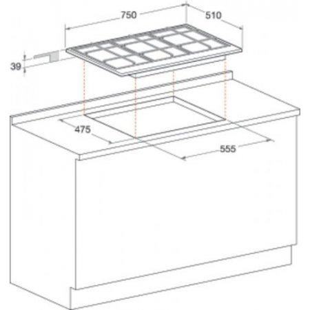 Hotpoint Piano cottura a gas - ariston - Pcn762sixhar
