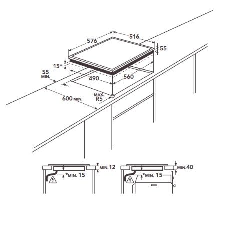 Aeg Piano cottura ad induzione - Hkp65410xb