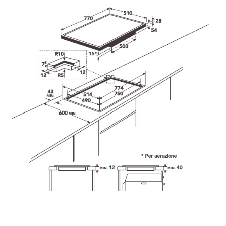 Aeg Piano cottura ad induzione - Hkl85416xb