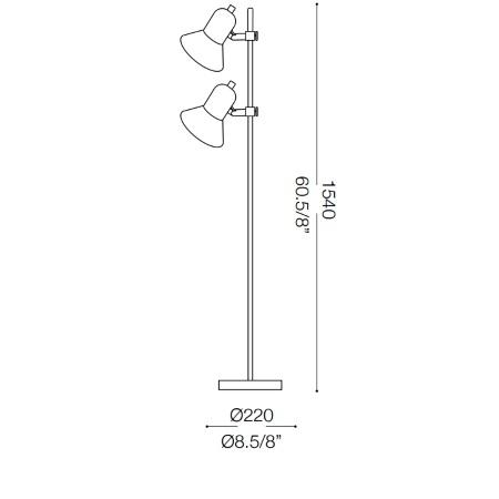 Ideal Lux Lampada da terra - Polly Pt2 Argento - 061115