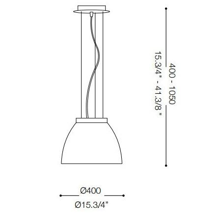 Ideal Lux Diffusore in vetro soffiato - TOLOMEO SP1 D40 GRIGIO 001821