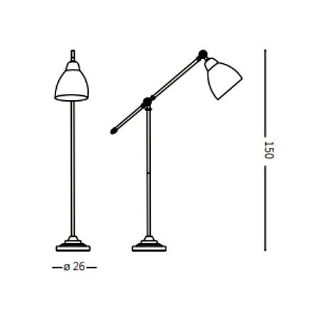 Ideal Lux Lampada da terra - Newton PT1 Nero - 003528