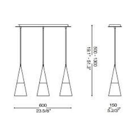 Ideal Lux Lampada a sospensione - CONO SB3 BIANCO 112381
