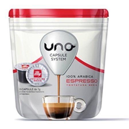 Illycaffe' 16 capsule di caffè tostato macinato - 16 Capsule UNO system caffè tostatura media - 7581